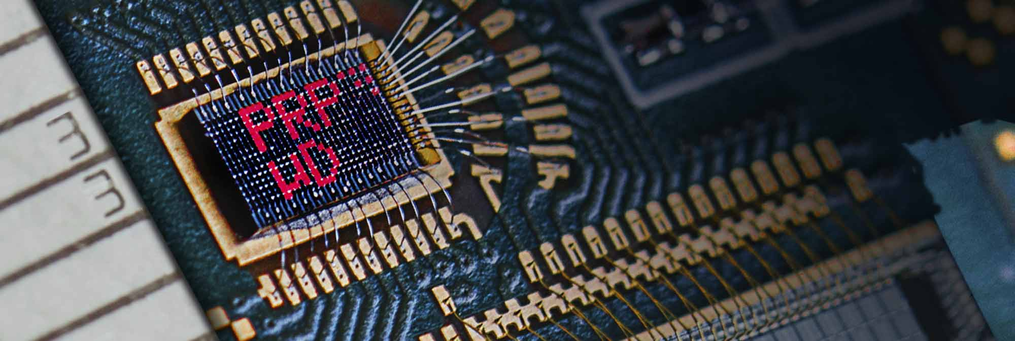 microLEDs in circuit board
